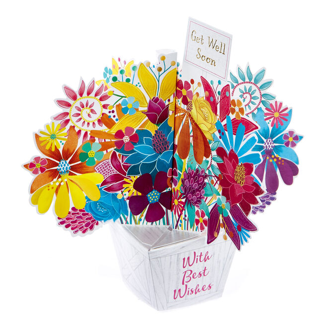 Boutique Collection 3D Get Well Soon Card - Flower Bouquet