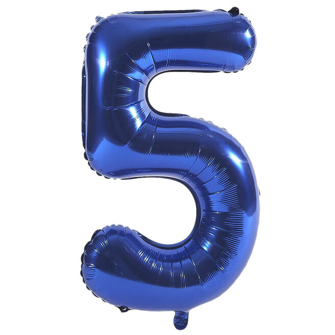 Blue Number 5 Foil Giant Helium Balloon (Deflated)