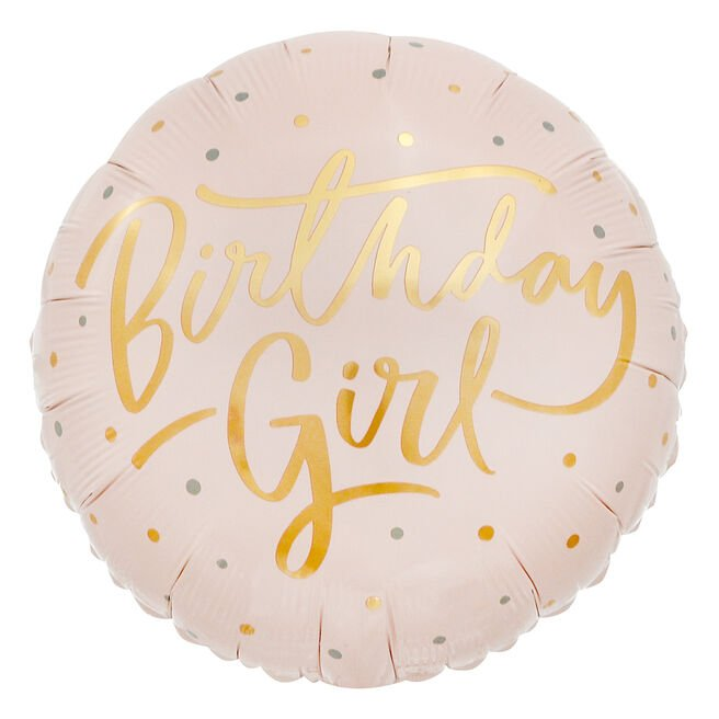 Pink & Gold Birthday Girl 18-Inch Foil Helium Balloon