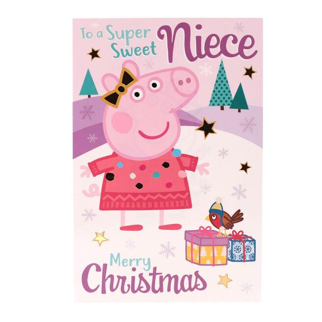 Peppa Pig Christmas Card - Super Sweet Niece