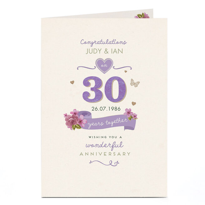 Personalised Anniversary Card - 30 Years Together