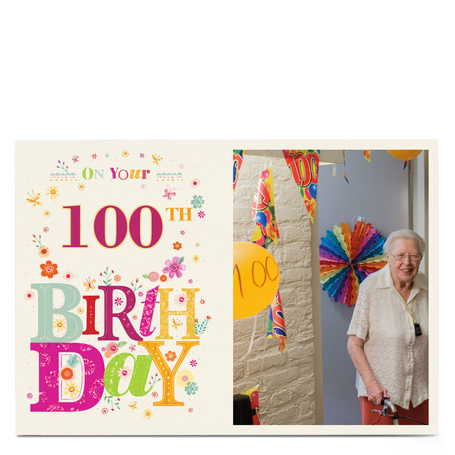 Photo Any Age Birthday Card -�Colourful Flowers