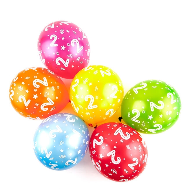 Multicoloured 2nd Birthday Latex Balloons - Pack Of 6