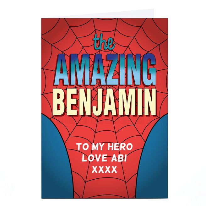 Personalised Card - Webbed Superhero Suit