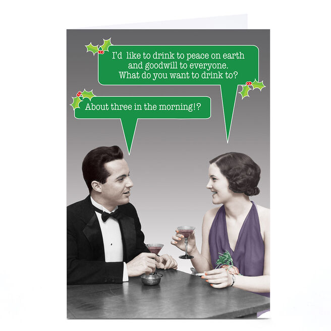 Personalised Quitting Hollywood Christmas Card - Happy Couple