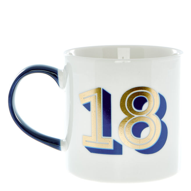 18th Birthday Mug In A Box - Blue & Gold