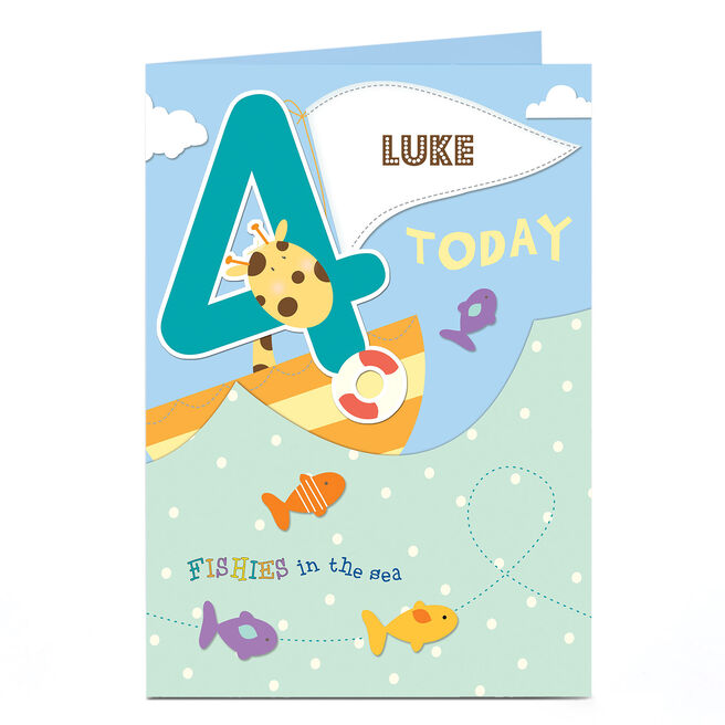 Personalised 4th Birthday Card - Fishies In The Sea