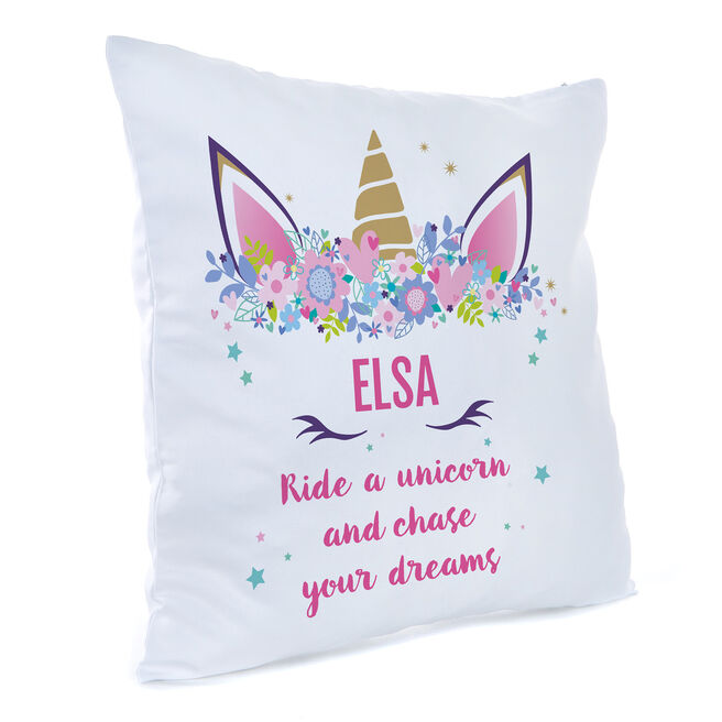 Personalised Unicorn Cushion - Chase Your Dreams