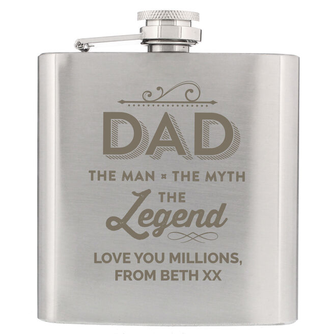 Personalised Hip Flask - Dad The Legend