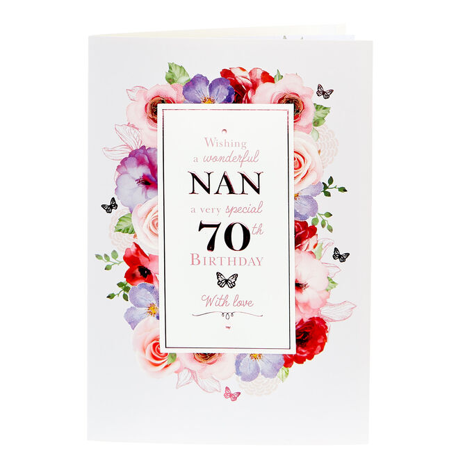 70th Birthday Card - Wonderful Nan With Love