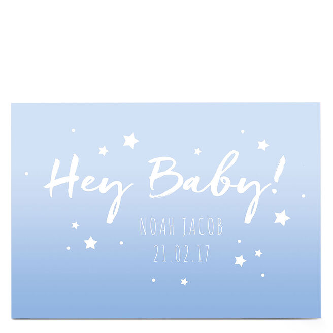 Personalised New Baby Card - Hey Baby! Blue