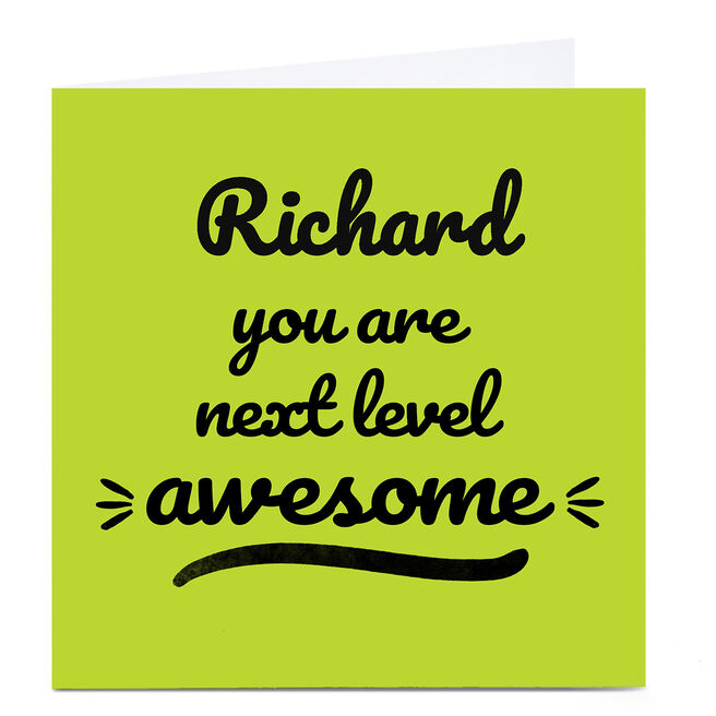 Personalised Card - You Are Next Level Awesome, Green