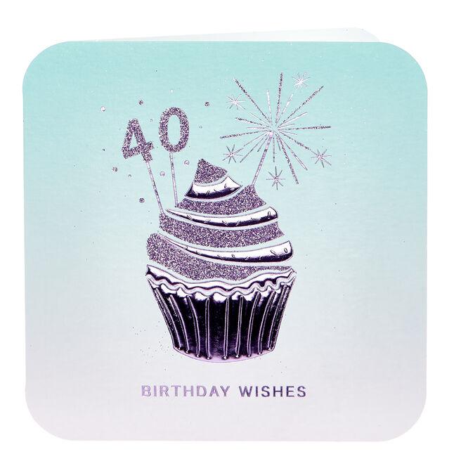 40th Birthday Card - Cupcake