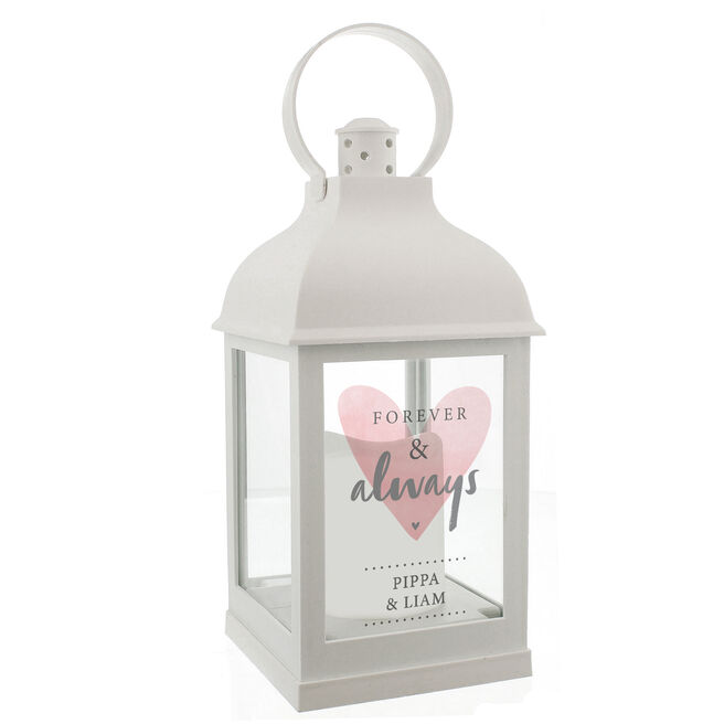 Personalised White LED Lantern - Forever & Always