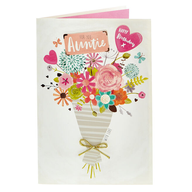 Birthday Card - Auntie, Bunch Of Flowers