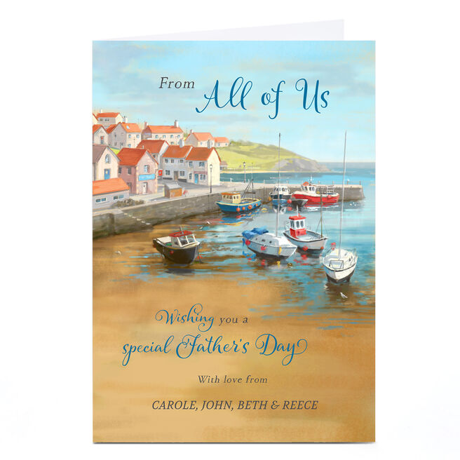 Personalised Father's Day Card - From All Of Us, Harbour Scene