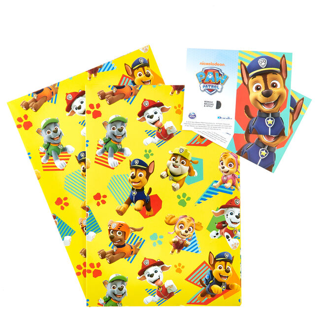 Yellow Paw Patrol Wrapping Paper & Gift Tags - Pack Of 2