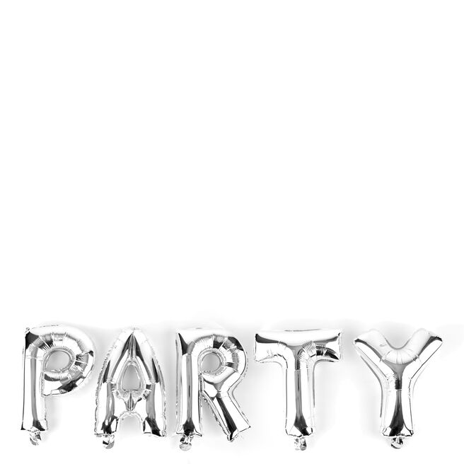 Silver Party Balloon Banner Kit