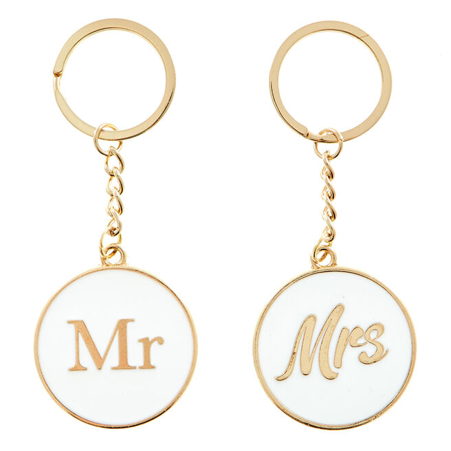 Two Hearts Mr Mrs Keyring