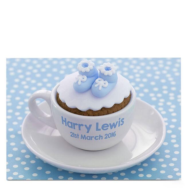 Personalised Card - Baby Boy Cupcake
