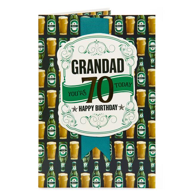 70th Birthday Card - Grandad, Beer