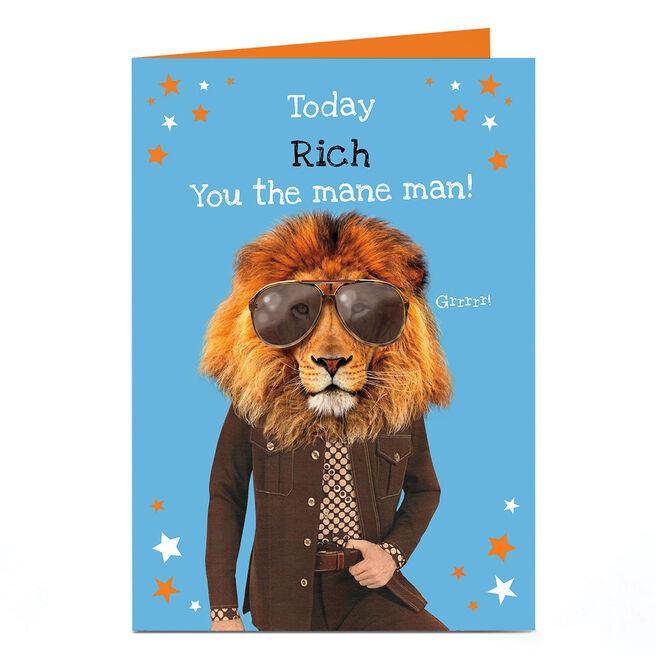 Personalised Heritage Wild Birthday Card - Mane Man!
