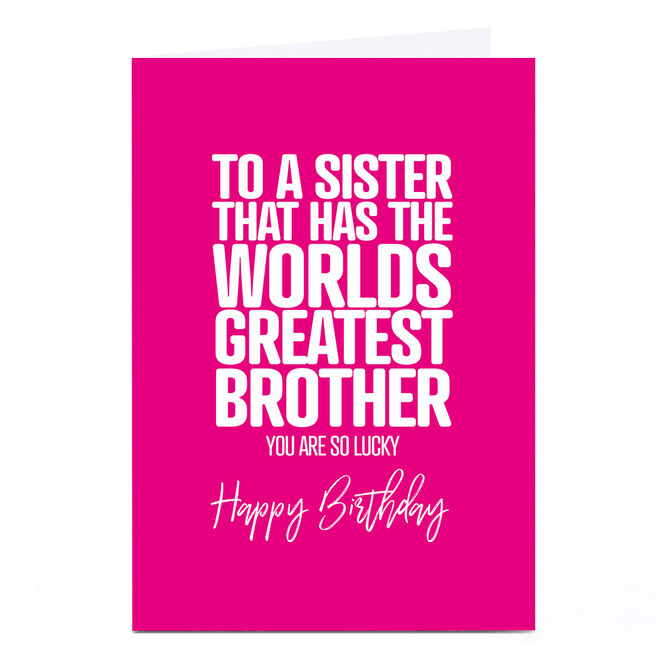 Personalised Punk Birthday Card - Sister From Brother