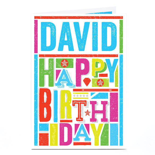 Personalised Birthday Card - Colourful Text