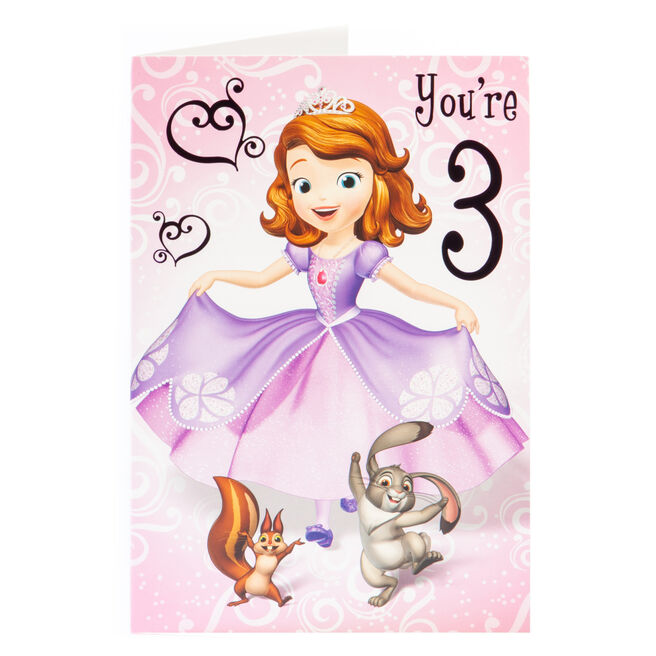 Sofia The First 3rd Birthday Card