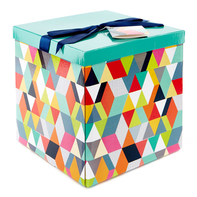 Extra Large Flat-Pack Gift Box - Geometric Pattern