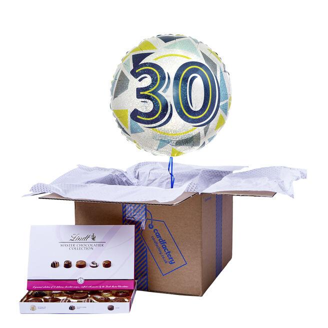 Geometric Blue & Yellow 30th Birthday Balloon & Chocolate Box