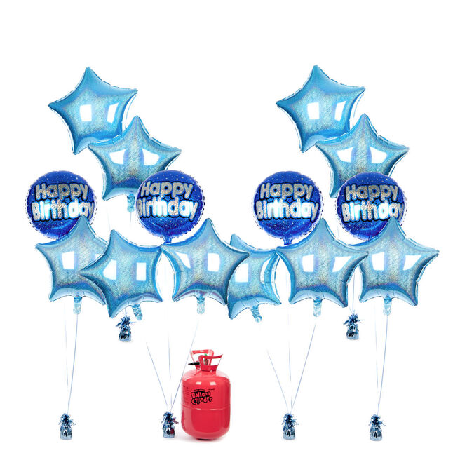 Birthday Party Balloon Bundle - Blue Stars & Helium - FREE NEXT DAY DELIVERY