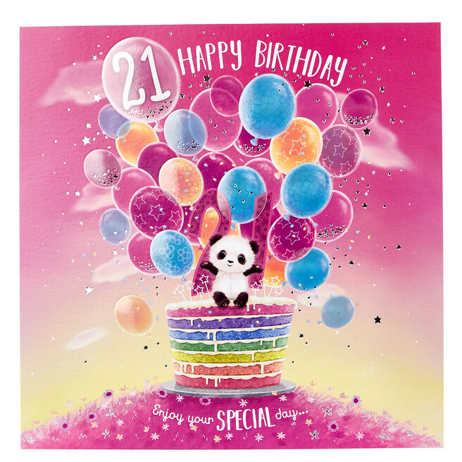 Platinum Collection 21st Birthday Card - Panda & Cake