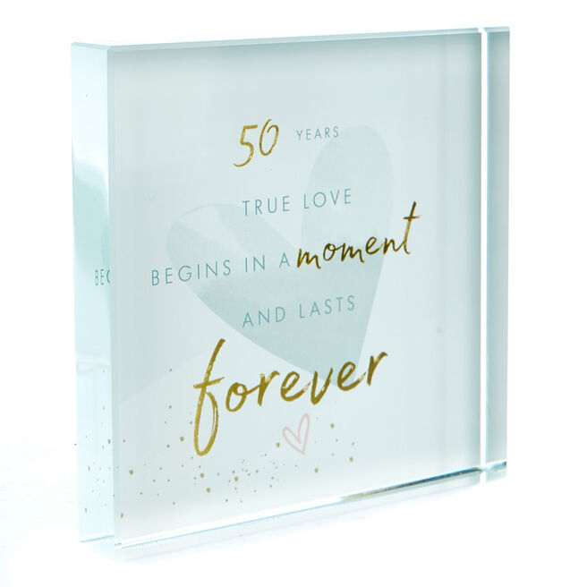 Perfect Together Glass Keepsake - 50th Anniversary