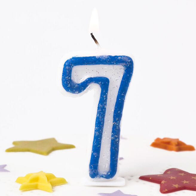 Blue Number 7 Birthday Candle 4784