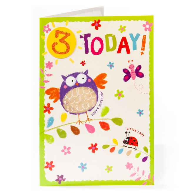 Giant 3rd Birthday Card - Little Lady, Owl