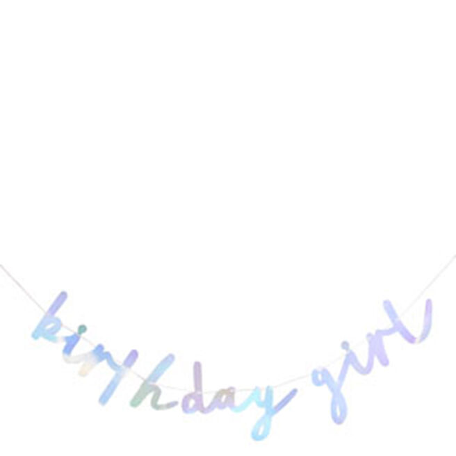 Iridescent Birthday Girl Script Banner