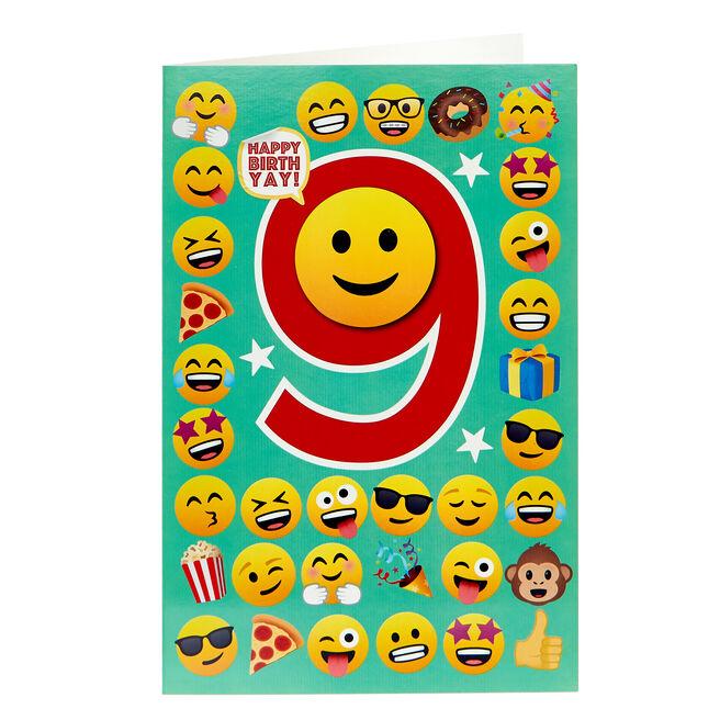 Emoji 9th Birthday Card
