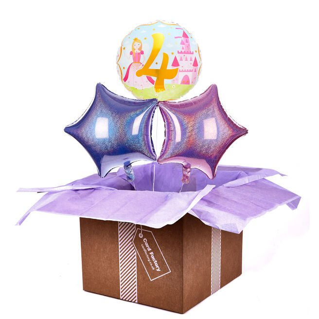 Princess 4th Birthday Balloon Bouquet - DELIVERED INFLATED!