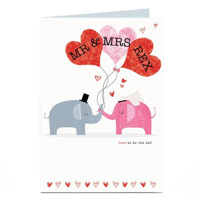 Personalised Wedding Card - Mr & Mrs Elephants