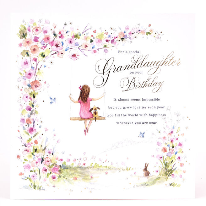 Platinum Collection Birthday Card - Granddaughter Swing