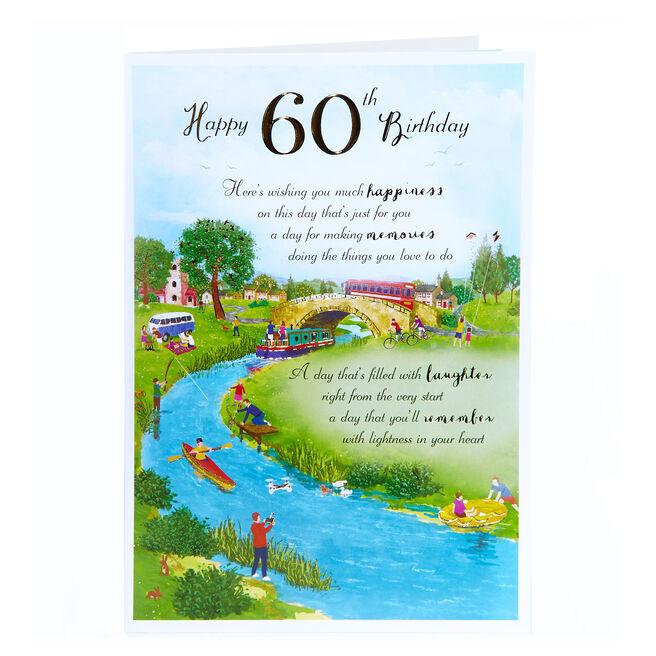 60th Birthday Card - Happiness & Memories