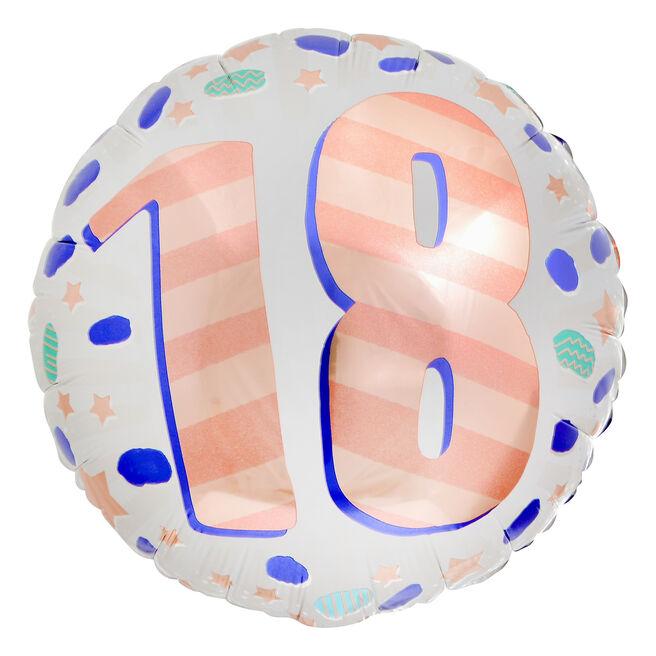 Spots & Stripes 18th Birthday 18-Inch Foil Helium Balloon
