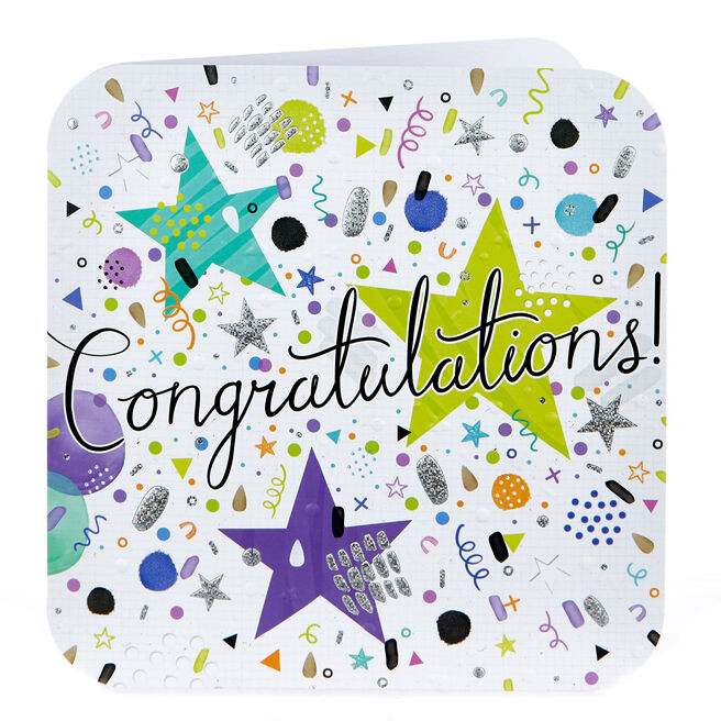 Platinum Collection Congratulations Card - Stars & Streamers