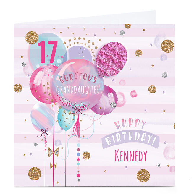 Personalised Birthday Card - Pastel Balloons Any Age