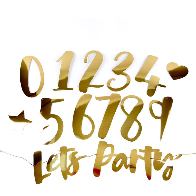 Gold Lets Party Banner Kit