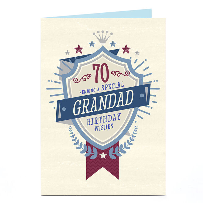 Personalised 70th Birthday Card - Special Wishes Shield