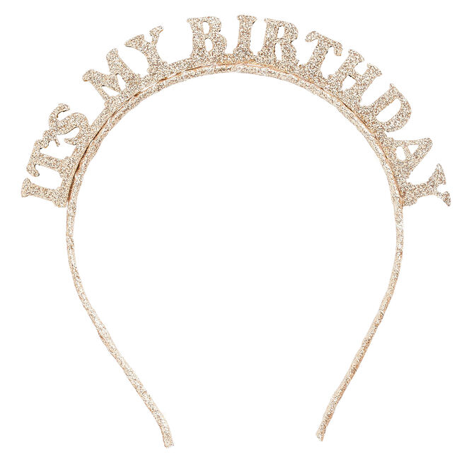"Gold Glitter It's My Birthday"" Headband """