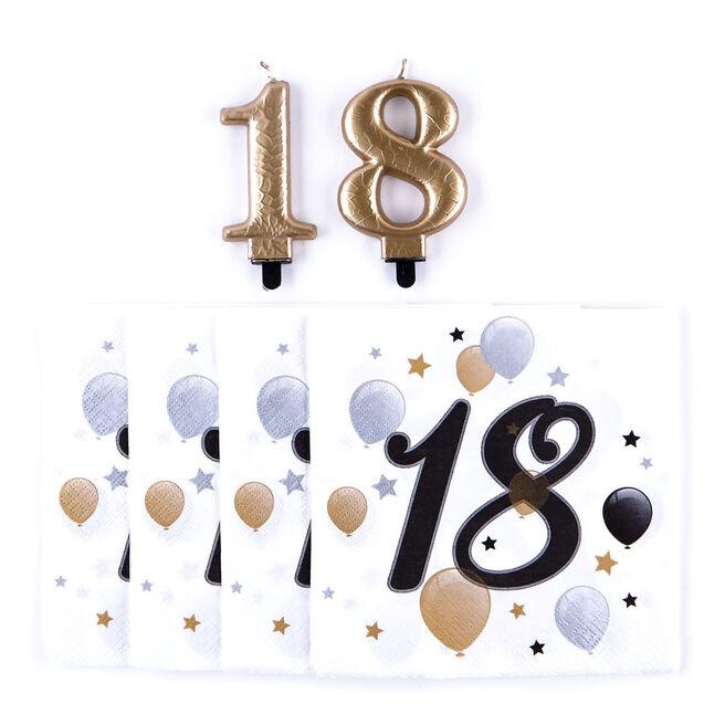 18th Birthday Napkin & Candle Bundle