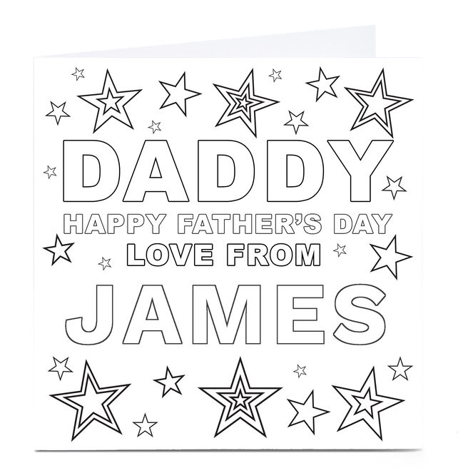 Personalised Father's Day Card - Daddy, Colouring In Card